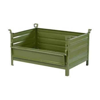 Transport- Stapelbehälter - mit Klappe - 800x500 mm - 1.000 kg - Kranösen - resedagrün