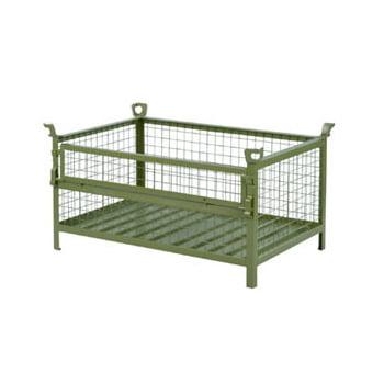 Gitter-Transport- und Stapelbehälter - 1000 kg - 480 l - Klappe - resedagrün