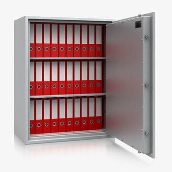 Massiver Wertschutzschrank, Tresor, Safe, VdS Klasse 0/N, 2 Fachböden, feuerhemmend, definierter Einbruchschutz, 1.120 x 870 x 495 mm (HxBxT)
