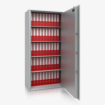 Massiver Wertschutzschrank, Tresor, Safe, VdS Klasse 0/N, 4 Fachböden, feuerhemmend, definierter Einbruchschutz, 1.820 x 870 x 495 mm (HxBxT)