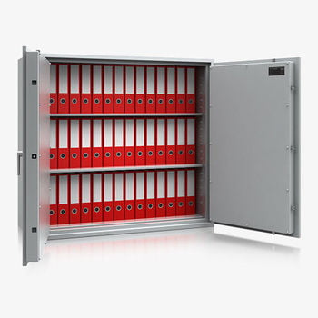 Massiver Wertschutzschrank, Tresor, Safe, VdS Klasse 0/N, 2 Fachböden, feuerhemmend, definierter Einbruchschutz, 1.120 x 1.230 x 495 mm (HxBxT)