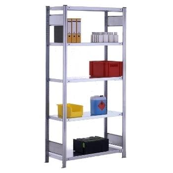 Fachbodenregal mit Tiefenriegel - 350 kg - (HxBxT) 2.000 x 1.005 x 500 mm - Grundregal - verzinkt (RAL ) online kaufen - Verwendung 2