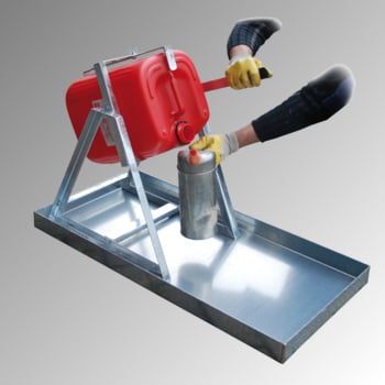 Kanister-Abfüllhilfe für 5-l-Kanister - Wandbefestigung möglich - verzinkt