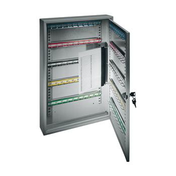 Schlüsselschrank - 550x380x140 mm - eintürig - 150 Haken - Zwischenwand - lichtgrau