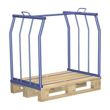 Palettenaufsatzrahmen für Europalette - 500 kg - Höhe 800 mm - 4-fach stapelbar - Längsseite offen - lichtblau