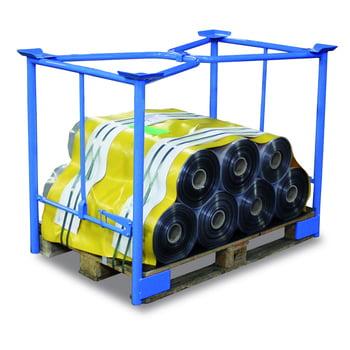 Palettenaufsatzrahmen für Europalette - 750 kg - Höhe 1.600 mm - 3-fach stapelbar - Klemmvorrichtung - lichtblau
