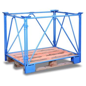 Palettenaufsatzrahmen für Industriepalette - 2.000 kg - Höhe 1.200 mm - 3-fach stapelbar - Diagonalstreben - lichtblau