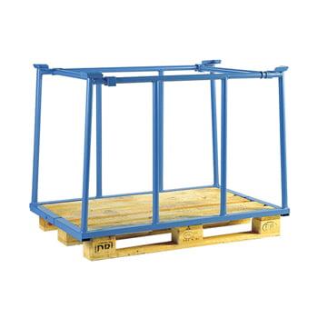 Palettenaufsatzrahmen für Industriepalette - 500 kg - Höhe 1.600 mm - 3-fach stapelbar - Schmalseite offen - lichtblau