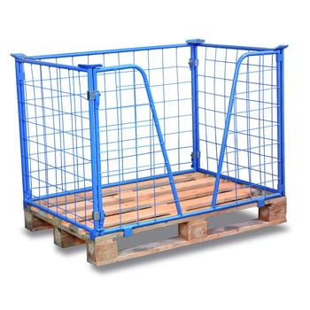 Palettenaufsatzrahmen für Industriepalette - 1.000 kg - Höhe 1.000 mm - 3-fach stapelbar - Gitter m. V-Ausschnitt - lichtblau