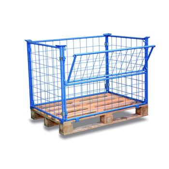 Palettenaufsatzrahmen für Industriepalette - 750 kg - Höhe 1.600 mm - 4-fach stapelbar - Gitter 1x klappbar - lichtblau