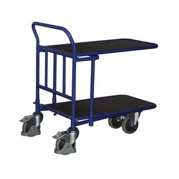 C+C Wagen mit Siebdruckplatte - 2 Etagen - ineinanderschiebbar - Ladefläche 600 x 1.030 mm (BxT) - Traglast 500 kg - enzianblau