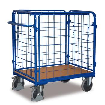 Paketwagen - 4 Wände - Traglast 500 kg - Höhe 1.220 mm - Ladefläche 600 x 1.000 mm (BxT) - enzianblau