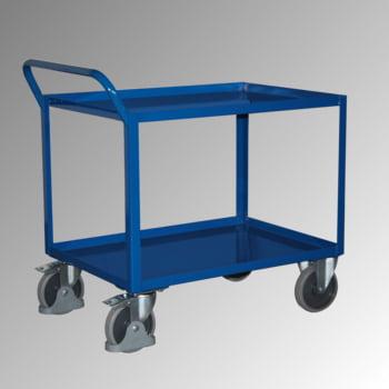 Tischwagen mit Stahlwanne - 2 Etagen - Traglast 400 kg - 695 x 995 mm (BxT) - Griff senkrecht - enzianblau