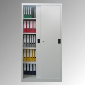 Schiebetürenschrank - Vollblechtüren - 1.950x1.000x400 mm (HxBxT) - 4 Böden, verzinkt - Zylinderschloss - lichtgrau