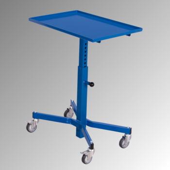 Fahrbarer Materialständer - 150 kg - höhenverstellbar 505 bis 780 mm - enzianblau