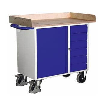Werkstattwagen mit Rand - 6 Schubladen - 1 Schrank - Traglast 400 kg
