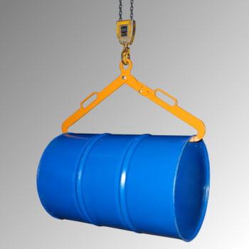 Scherengreifer - für liegende 200 l-Stahlfässer - 360 kg - gelborange