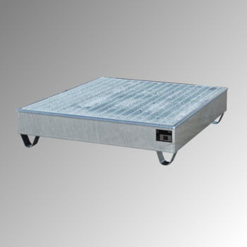 Auffangwanne - PE-Einsatz - 211 l - für 4 Fässer - quadratisch - verzinkt