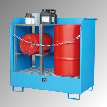 Gefahrstoffdepot - 224 l Volumen - Spritzschutzwände - lichtblau