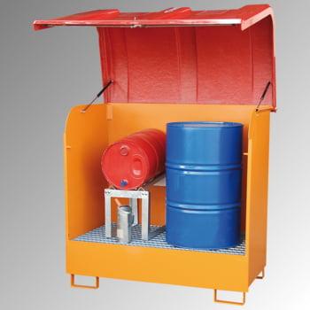 Gefahrstoffdepot - 224 l Volumen - GFK-Haube - gelborange