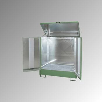 Gefahrstoffdepot - 210 l Volumen - 2 x 200-l-Fass - Flügeltüren - resedagrün