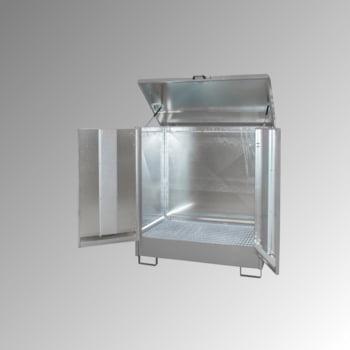 Gefahrstoffdepot - 210 l Volumen - 2 x 200-l-Fass - Flügeltüren - mausgrau