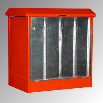 Gefahrstoffdepot - 210 l Volumen - 2 x 200-l-Fass - Rampe - feuerrot