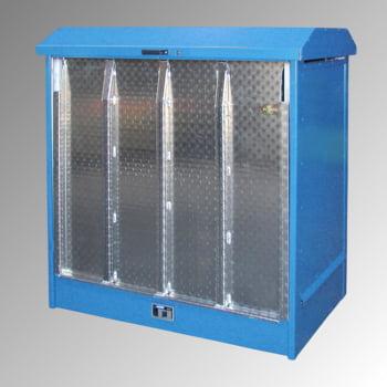 Gefahrstoffdepot - 210 l Volumen - 2 x 200-l-Fass - Rampe - lichtblau