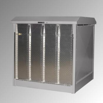 Gefahrstoffdepot - 220 l Volumen - 4 x 200-l-Fass - Rampe - mausgrau