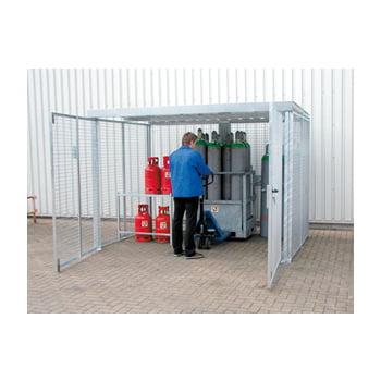 Gasflaschencontainer - für 48 220-mm-Flaschen - Doppelflügeltor - verzinkt