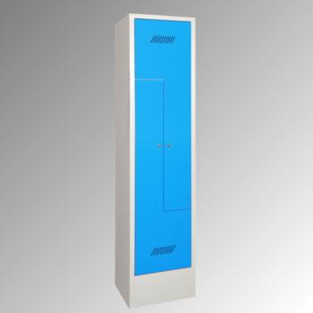 Z-Kleiderschrank m. Sockel - Höhe 185 cm - 2 Fächer - Drehriegel - lichtgrau/resedagrün online kaufen - Verwendung 3