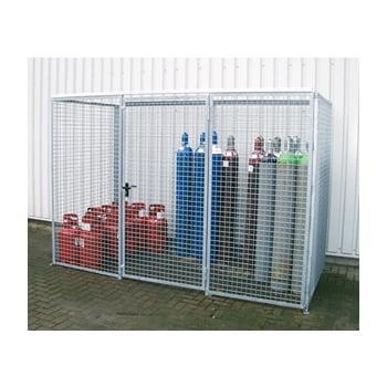 Gasflaschencontainer - für 60 220-mm-Flaschen - Türe und Dach - verzinkt