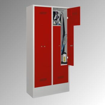 Z-Kleiderschrank m. Sockel - Höhe 185 cm - 4 Fächer - Drehriegel - lichtgrau/rubinrot