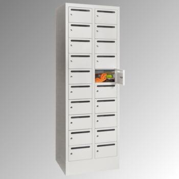 Postverteilschrank - Schließfachschrank - 2 Abteile a 30 cm - 20 Fächer - lichtgrau