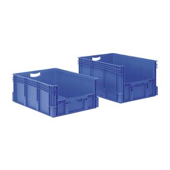 Euro-Stapelbehälter - Volumen 132 l - 60 kg - 320 x 600 x 800 mm (HxBxT) - Öffnung Stirnseite - blau online kaufen - Verwendung 0