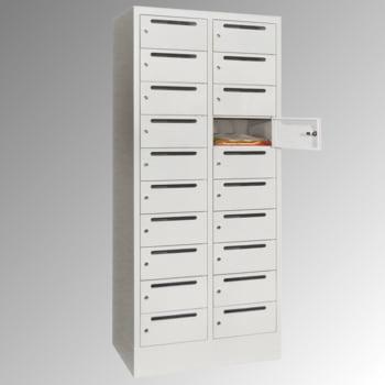 Postverteilschrank - Schließfachschrank - 2 Abteile a 40 cm - 20 Fächer - lichtgrau/anthrazitgrau