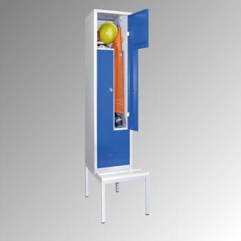 Z-Kleiderschrank m. Sitzbankuntergestell - Höhe 210 cm - 2 Fächer - Drehriegel - lichtgrau/lichtblau