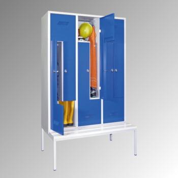 Z-Kleiderschrank m. Sitzbankuntergestell - Höhe 210 cm - 6 Fächer - Drehriegel - lichtgrau/rubinrot