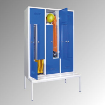 Z-Kleiderschrank m. Sitzbankuntergestell - Höhe 210 cm - 6 Fächer - Drehriegel - lichtgrau/enzianblau