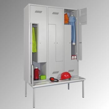 Z-Kleiderschrank m. Sitzbankuntergestell - Höhe 210 cm - 6 Fächer - Drehriegel - lichtgrau/lichtblau online kaufen - Verwendung 3