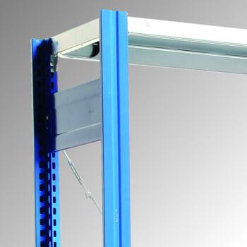 Fachbodenregal mit Tiefenriegel - 150 kg - (HxBxT) 2.000 x 1.005 x 500 mm - Anbauregal - Rahmen enzianblau - Böden verzinkt