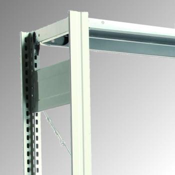 Fachbodenregal mit Tiefenriegel - 150 kg - (HxBxT) 2.000 x 875 x 300 mm - Grundregal - Rahmen lichtgrau - Böden verzinkt