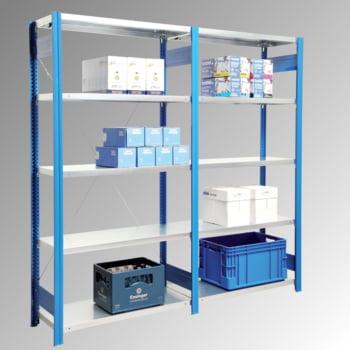 Fachbodenregal mit Tiefenriegel - 150 kg - (HxBxT) 3.000 x 875 x 400 mm - Grundregal - Rahmen enzianblau - Böden verzinkt online kaufen - Verwendung 3