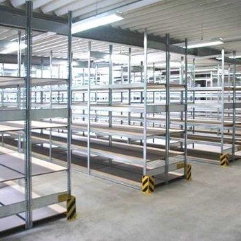 Fachbodenregal mit Tiefenriegel - 150 kg - (HxBxT) 3.000 x 875 x 400 mm - Grundregal - Rahmen enzianblau - Böden verzinkt online kaufen - Verwendung 5