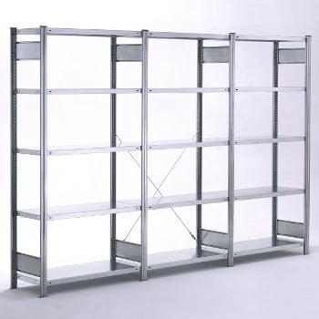 Fachbodenregal mit Tiefenriegel - 150 kg - (HxBxT) 3.000 x 1.005 x 500 mm - Grundregal - Rahmen lichtgrau - Böden verzinkt online kaufen - Verwendung 4