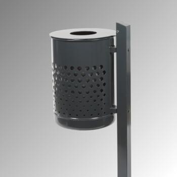 Abfallbehälter mit Pfosten - 50 l - gelocht - anthrazitgrau