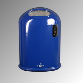 Ovaler Abfallbehälter mit Federklappe - mit Ascher - 45 l - Pfosten- oder Wandmontage - kobaltblau
