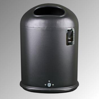 Ovaler Abfallbehälter mit Ascher - 45 l - Pfosten- oder Wandmontage - kobaltblau