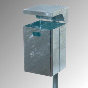 Abfallbehälter rechteckig, mit Haube - Wand- oder Pfostenbefestigung - 40 l - verzinkt