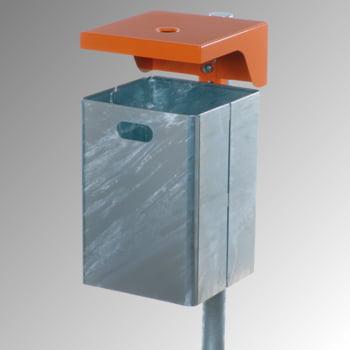 Abfallbehälter rechteckig, mit Haube - Wand- oder Pfostenbefestigung - mit Ascher - 40 l - verzinkt
